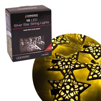 10 LED Silver Star String Light - W.White