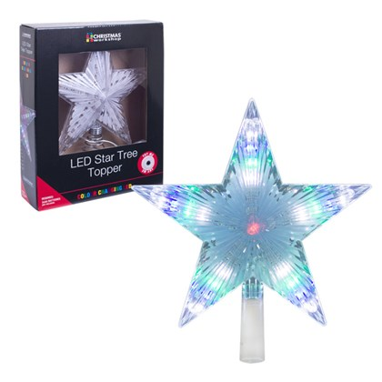 24cm Multi-Colour Flashing Star Tree Topper