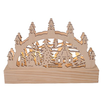 Med LED Wooden Light Up Outdoor Snow Scene