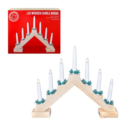 B/O LED Wooden Candle Bridge- Pine