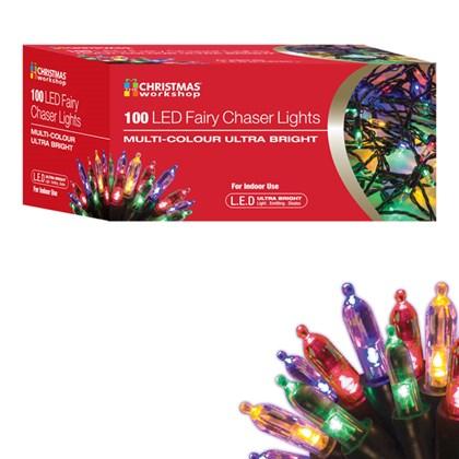 100 LED Fairy Chaser Lights - Multi Coloured