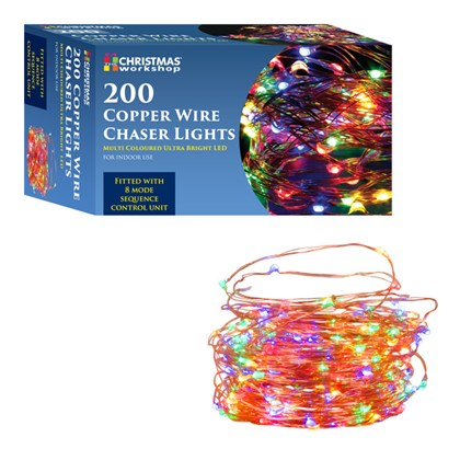 200 LED Copper Wire Chaser Lights- Multi Coloured