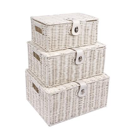 Set of 3 Wicker Storage Box - White