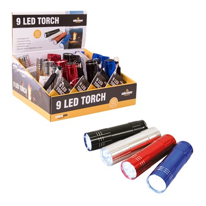 9 LED Torch - 4 Assorted Colours