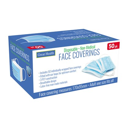 50pk Disposable Face Coverings - Masks