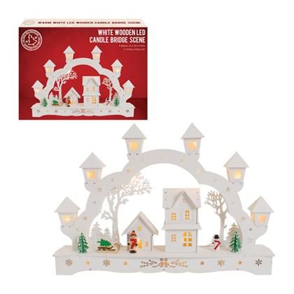 B/O White Wooden Christmas Scene lanterns-10 LED