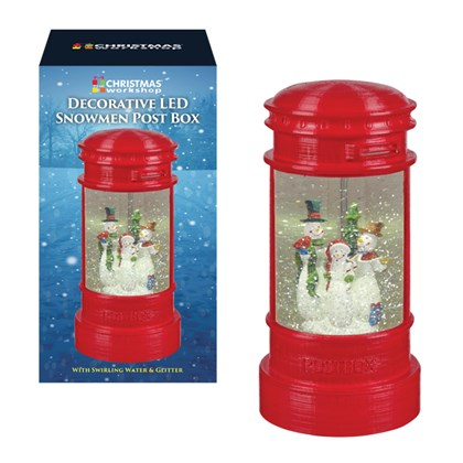 Festive Snowman LED Post Box. swirling glitter
