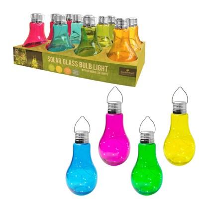 Solar Micro LED Glass Light Bulb-4 Assorted Colour