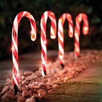 4PC 20LED Red & White Candy Cane Path Light