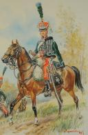 Photo 3 : LELIEPVRE Eugène, GARDE D'HONNEUR DU 2d RÉGIMENT, PREMIER EMPIRE, AQUARELLE ORIGINALE.
