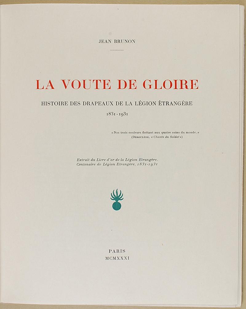 """Beliebt BRUNON (Jean) - """" La Voute de Gloire """" - Lot de 2 livres - Extrait  IX58"""
