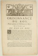 ORDONNANCE DU ROY, portant règlement sur l'Habillement des Milices. Du 25 novembre 1746. 2 pages (1)