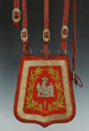 REPRODUCTION D'UNE SABRETACHE TE DE SON CEINTURON D'OFFICIER DU 1er RÉGIMENT DE HUSSARDS, PREMIER EMPIRE.
