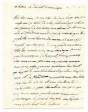 LETTRE DU SOLDAT JEAN PIERRE LEFEVRE, soldat au 79ème régiment d'infanterie de ligne, 4ème bataillon en dépot à Venise, À SA MÈRE, résidant à Saint Sauveur Bonfossé (Manche), datée de Turin le 18 mars 1809.