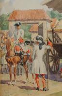 Photo 3 : LUCIEN ROUSSELOT : AQUARELLE ORIGINALE - TAMBOUR D'INFANTERIE, ANCIENNE MONARCHIE.