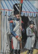 Photo 2 : LUCIEN ROUSSELOT : AQUARELLE ORIGINALE - CHASSEUR À PIED DE LA GARDE IMPÉRIALE MONTANT LA GARDE DEVANT LA TOMBE DE L'EMPEREUR, PREMIER EMPIRE.