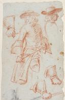 Photo 3 : PARROCEL (Charles) - DESSIN ORIGINAL SUR PAPIER : CAVALIER 17° SIÈCLE.