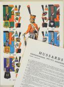 """L'ARMÉE FRANÇAISE Planche N° 57 : """"HUSSARDS - 1804-1812"""" par Lucien ROUSSELOT et sa fiche explicative. (1)"""