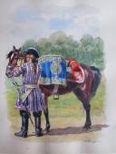 Photo 1 : ROUSSELOT LUCIEN : AQUARELLE ORIGINALE, GENDARMERIE DE FRANCE (1720-1724) : GENDARME DU DAUPHIN, TIMBALIER, ANCIENNE MONARCHIE.