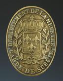 PLAQUE DE BRASSARD DE GARDE DE SÛRETÉ, DÉPARTEMENT DE LA MEURTHE, RESTAURATION. (1)