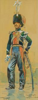 Photo 1 : TOUSSAINT MAURICE  (1882-1974) : CHASSEUR À CHEVAL DE LA GARDE ROYALE, RESTAURATION (1824).