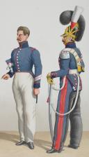 Photo 2 : 1828 Garde Royale. Train d'Artillerie. Officier, Maréchal des Logis, Maréchal des Logis-Chef.