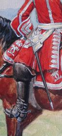 Photo 2 : ROUSSELOT LUCIEN : AQUARELLE ORIGINALE, MARÉCHAL DES LOGIS DES GENDARMES DU DAUPHIN, ANCIENNE MONARCHIE.