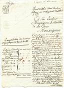COURRIER DE JACOB KIRTEL, tambour major au 3ème régiment d'artillerie à pied, sollicite auprès du MInistre de la guerre une place de portier à la ville d'Auxonne, le 6 janvier 1805 (26 nivose an 13).