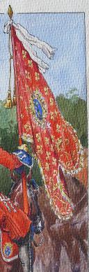 Photo 2 : ROUSSELOT LUCIEN : AQUARELLE ORIGINALE, OFFICIER, PORTE GUIDON ET MARÉCHAL DES LOGIS DU RÉGIMENT D'ORLÉANS DRAGONS, 1720, ANCIENNE MONARCHIE.