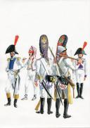 Photo 1 : PÉTARD MICHEL, PLANCHE ORIGINALE AQUARELLÉE : ESPAGNE :  INFANTERIE DE LIGNE, PLANCHE N° 1, 1808, PREMIER EMPIRE.