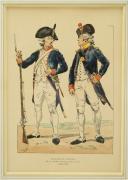 GRAVURE PAR JOB : INFANTERIE ET ARTILLERIE GARDE NATIONALE DE NANTES, RÉVOLUTION (1789-1790).