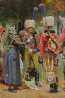 Photo 3 : LUCIEN ROUSSELOT : AQUARELLE ORIGINALE - TROMPETTES DES CHASSEURS À CHEVAL DE LA GARDE IMPÉRIALE, PREMIER EMPIRE.