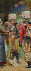 Photo 6 : LUCIEN ROUSSELOT : AQUARELLE ORIGINALE - TROMPETTES DES CHASSEURS À CHEVAL DE LA GARDE IMPÉRIALE, PREMIER EMPIRE.