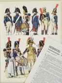 """Photo 1 : L'ARMÉE FRANÇAISE Planche N° 63 : """"GRENADIERS À PIED DE LA GARDE - Tête de colonne - 1800-1815"""" par Lucien ROUSSELOT et sa fiche explicative."""