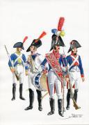 PÉTARD MICHEL, PLANCHE ORIGINALE AQUARELLÉE : ESPAGNE :  INFANTERIE DE LIGNE, PLANCHE N° 2, 1808, PREMIER EMPIRE.
