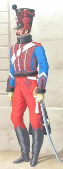 Photo 2 : 1816. Hussards. Colonel (6e Régiment - du Haut-Rhin), Maréchal des logis (1er Régiment - du Jura).
