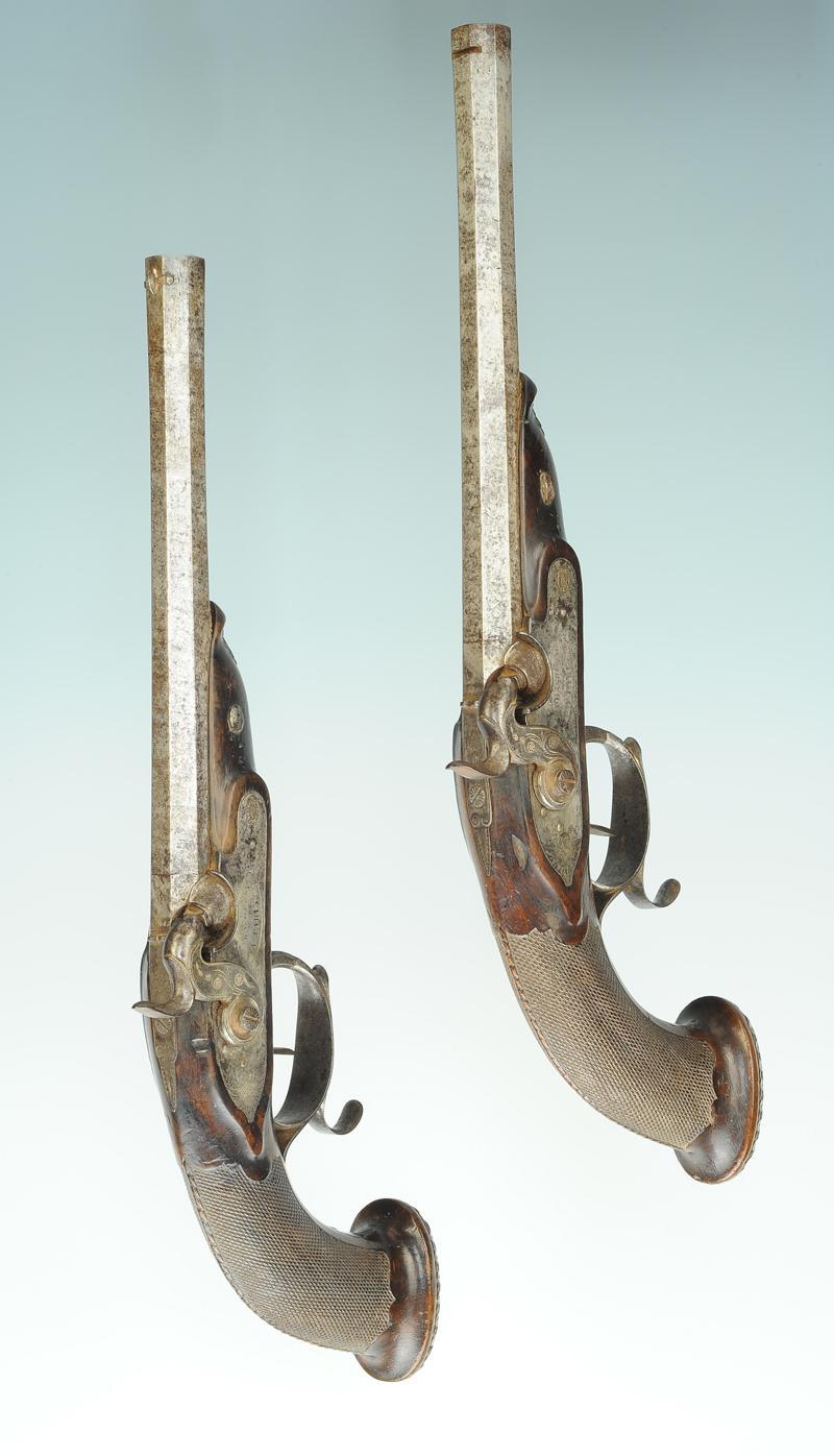 Paire de pistolets percussion sign s fp bacherau for Bache poisson
