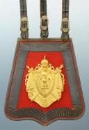 SABRETACHE DU CHEF DE MUSIQUE MOHR DU REGIMENT DES GUIDES DE LA GARDE IMPERIALE, SECOND EMPIRE (1852-1865).
