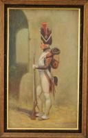 Photo 2 : ANONYME, GRENADIER À PIED DE LA GARDE IMPÉRIALE, PREMIER EMPIRE : Huile sur toile.