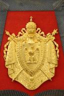 Photo 6 : SABRETACHE DU CHEF DE MUSIQUE MOHR DU REGIMENT DES GUIDES DE LA GARDE IMPERIALE, SECOND EMPIRE (1852-1865).