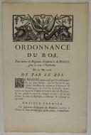 ORDONNANCE DU ROI, pour mettre le Régiment d'infanterie de Ponthieu, sous le nom d'Australie. Du 31 mai 1776. 2 pages (1)