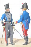 1816. Hussards. Lieutenant Adjudant-Major, Sous-Lieutenant en tenue de ville (1er Régiment - du Jura). (1)