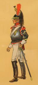 Photo 2 : FROGER PIERRE : GOUACHE ORIGINALE REPRÉSENTANT UN CUIRASSIER DU PREMIER EMPIRE, XX° SIÈCLE.