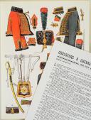 """Photo 1 : L'ARMÉE FRANÇAISE Planche N° 69 : """"CHASSEURS À CHEVAL DE LA GARDE - 1800-1815"""" par Lucien ROUSSELOT et sa fiche explicative."""