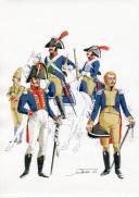PÉTARD MICHEL, PLANCHE ORIGINALE AQUARELLÉE : ESPAGNE :  CAVALERIE, 1807-1808, PREMIER EMPIRE. (1)