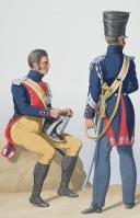 Photo 2 : 1824. Gendarmerie Royale. Département de la Corse. Gendarme à Pied, Maréchal des Logis à Cheval, Gendarme à Cheval.