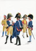 PÉTARD MICHEL, PLANCHE ORIGINALE AQUARELLÉE : ESPAGNE :  CAVALERIE, 1807, PREMIER EMPIRE.
