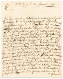 Armée du Rhin. LETTRE DU SOLDAT BRISON, depuis Marbourg le 25 janvier 1743, à M. RICHARD, intendant de Monsieur De La Fare.