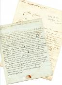 2 LETTRES DE MARINS : L'ENSEIGNE DE VAISSEAU CLÉMENT (..?) , 10 prairial an 7(29 mai 1794) ET LEBLOND, 28 germinal an 3 (16 avril 1795). 1794-1795.