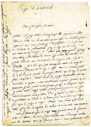 Photo 1 : Armée de Naples. LETTRE DU CARABINIER JOSEPH MONGE, 1er Régiment d'infanterie légère, 3ème compagnie, en garnison en Calabre, À SES PARENTS résidant dans le Pas de Calais, datée de Reggio le 3 avril 1806.